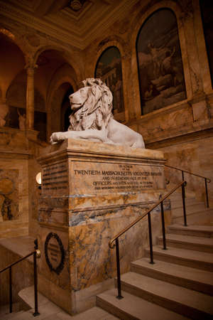 Boston Public Library Copley Square - Lion and Tribute to Civil Wars 20th Massachusetts Volunteer Infantry