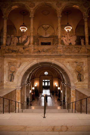 Interior walkway of historic Boston Public Library, McKim Building, Boston, MA