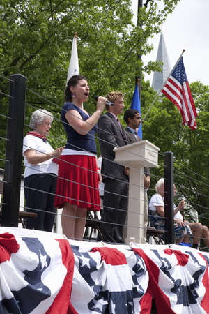 god bless: Young woman sings God Bless America during Memorial Day, 2011 Ceremonies, Concord, MA