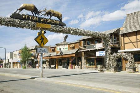 Elk displayed over Main Street storefronts, Afton, Wyoming
