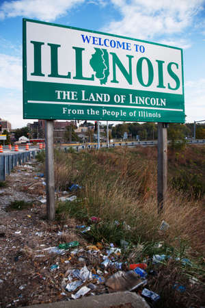 signboard: Signboard indicating the state of Illinois, USA