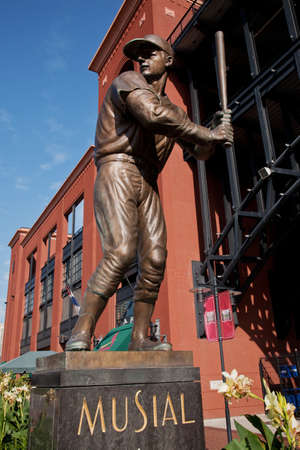 A statue of Stan Musial outside Busch Stadium, St. Louis, Missouri, USA