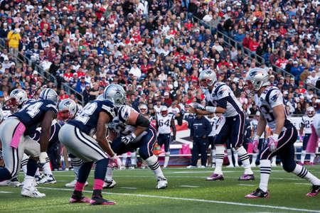 Gillette Stadium, Foxborough, MA - October 16, 2011 - Quarterback Tom Brady #12, New England Patriots takes hike in the game between New England Patriots vs Dallas Cowboys Editorial
