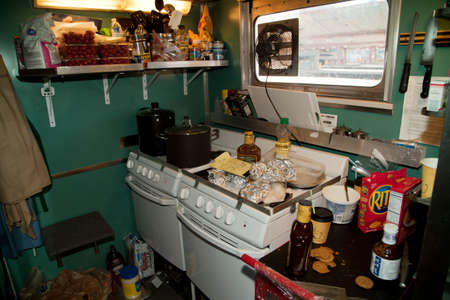 cluttered: Kitchen interior on the Pearl Harbor Day Troop 1940s Train e-enactment from Los Angeles Union Station to San Diego