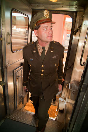 troop: A man dressed in 1940s uniform on the Pearl Harbor Day Troop Train re-enactment from Los Angeles Union Station to San Diego