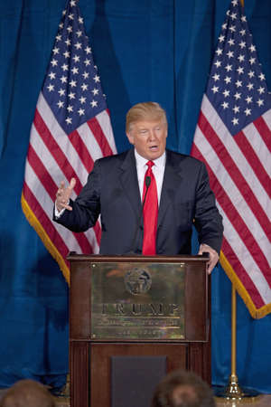 Donald Trump International Hotel, Las Vegas, Nevada - February 2, 2012 - Trump giving a speech at the podium