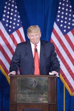Trump International Hotel, Las Vegas, Nevada - February 2, 2012 - Donald Trump giving a speech at the podium  Editorial