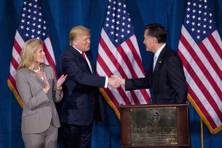 endorsing: Trump International Hotel, Las Vegas, Nevada - February 2, 2012 - Donald Trump endorsing Mitt Romney for president