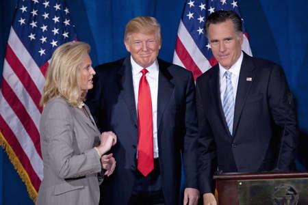 Trump International Hotel, Las Vegas, Nevada - February 2, 2012 - Donald Trump endorsing Mitt Romney for president Zdjęcie Seryjne - 23231303