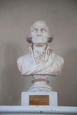 north   end: North End, Boston, MA - May 11, 2012 - A sculpture of George Washingtons head in Christ Church by Shubael Bell
