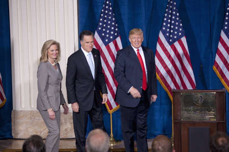 donald: Trump International Hotel, Las Vegas, Nevada - February 2, 2012 - Mitt Romney together with his wife, Ann Romney and Donald Trump on stage  Editorial
