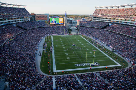 Gillette Stadium, Foxborough, MA - October 16, 2011 -  Elevated view of Gillette Stadium home of Super Bowl champs, New England Patriots
