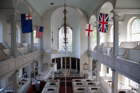 north   end: North End, Boston, MA - May 11, 2012 - Interior of the historic Old North Church