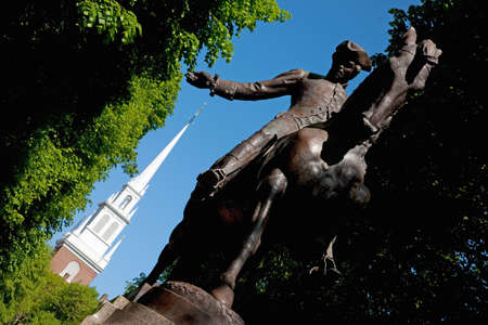 A statue of Paul Revere on a horse at Freedom Trail, Boston, MA