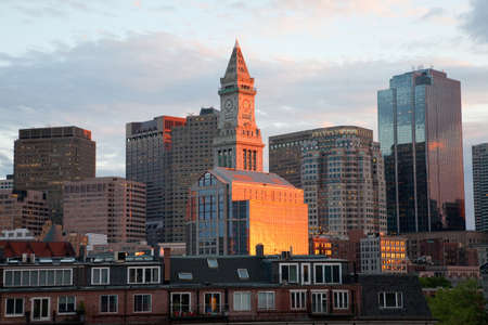 boston skyline: Custom House Tower and Boston Skyline with condos below in Boston, MA