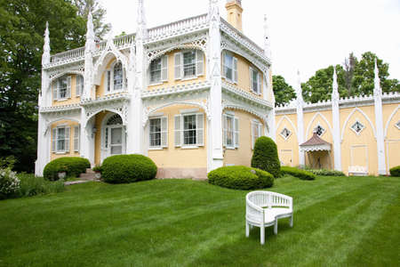 well maintained: Large old-style mansion with well maintained garden in Rockport, Massachusetts