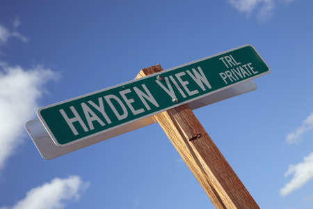 hayden: Hayden View road sign near Ridgway, Colorado Stock Photo