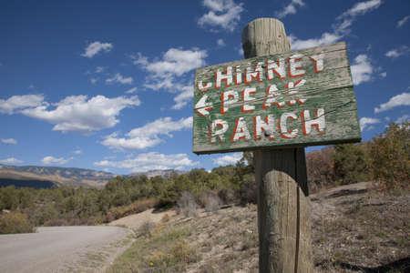 Chimney Peak Ranch signboard at Chimney Peak, Ridgway, Colorado