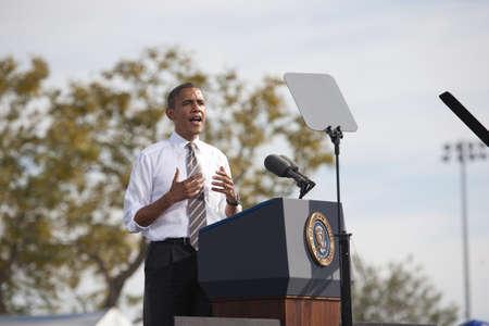 obama: Las Vegas, New York, October 25, 2008- US Senator Barack Obama speaking at Bonanza High School, Judy K  Cameron Stadium  Editorial