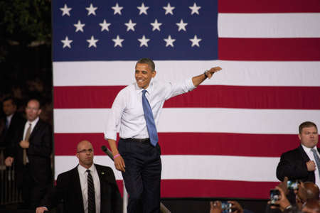 2012 Democrat Presidential Candidate, Senator Barack Obama speaking at a Presidential Campaign rally