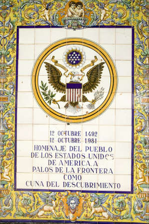 Tile sign along the Avenida de America reads, Homage of the people of the United States of America to Palos de la Frontera, cradle of the discovery, Palos de la Frontera, Huelva, Southern Spain
