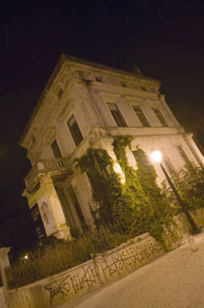 Spooky looking house at night in Cascais, near Estoril and Lisbon, Portugal
