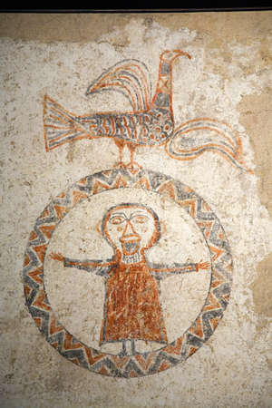 Early fresco images of Jesus in circle at Museum at Solsona, Cataluna, Spain, Museu Dioces� i Comarcal containing Romanesque paintings and local archeological finds