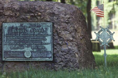 adams: Gravestone of Samuel Adams in the Old Granary Burying ground in Boston, Massachusetts Editorial
