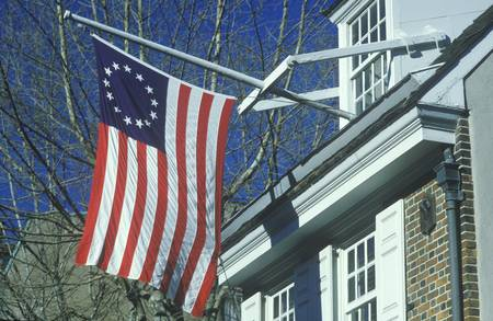 Original 13 colony flag flying outside home of Betsy Ross, Philadelphia, Pennsylvania