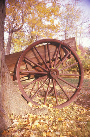 henry: Detail of wagon in autumn at the Historical Henry Wick House, Morristown Park, New Jersey