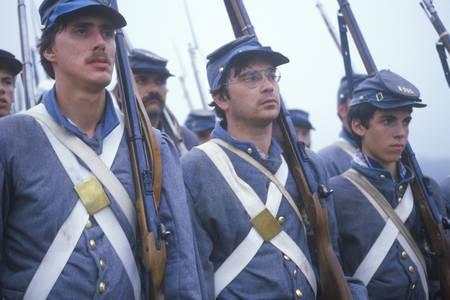 Historical reenactment of the Battle of Manassas, marking the beginning of the Civil War, Virginia