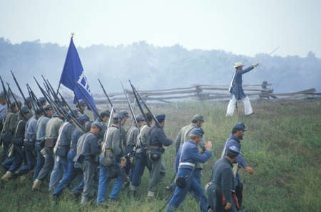 Historical reenactment of the Battle of Manassas, marking the beginning of the Civil War, Virginia