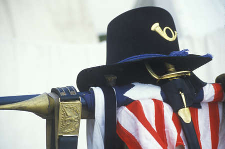 civil war: Still life of uniform and American Flag from site of Battle of Manassas, marking beginning of Civil War