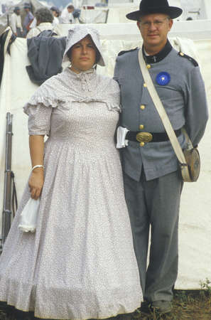 Civil War participant couple in full costume during reenactment of Battle of Manassas, Virginia