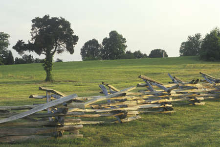 split rail: Split rail fence Appomattox Courthouse Historic National Park, Virginia Editorial