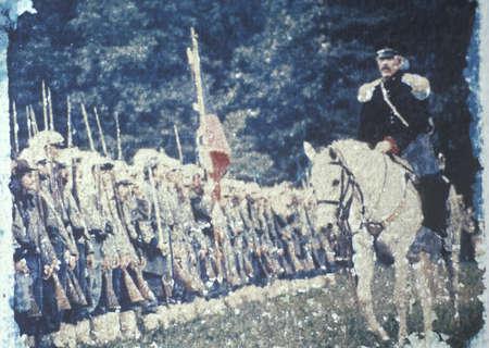Polaroid Transfer of scene of Civil War battle of Bull Run Reenactment, Virginia