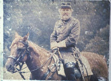 civil war: Polaroid Transfer of soldier on horseback during Civil War reenactment of Battle of Bull run