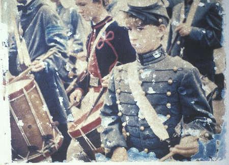 Polaroid Transfer of drummer boys during Civil War reenactment of Battle of Bull Run