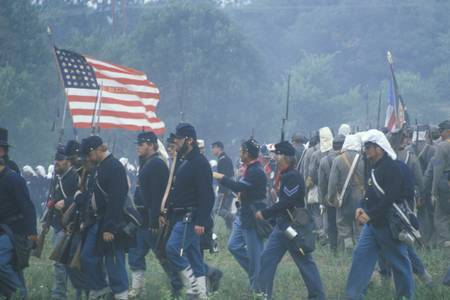 civil war: Historical reenactment of the Battle of Manassas, marking the beginning of the Civil War, Virginia