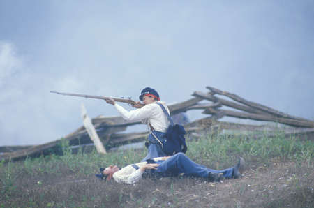 battleground: Historical reenactment of the Battle of Manassas, marking the beginning of the Civil War, Virginia