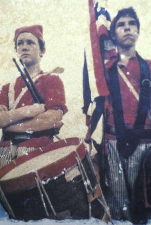 Polaroid Transfer of drummer boys and flag bearer during Civil War reenactment of Battle of Bull Run Редакционное