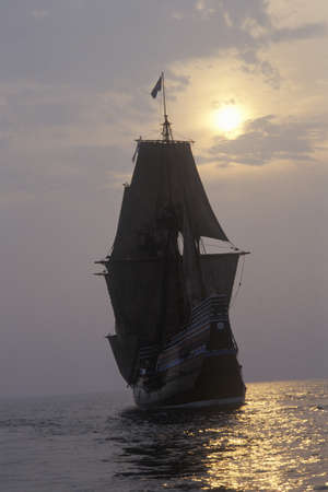 mayflower: Silhouette of a replica of Mayflower II, Plymouth, Massachusetts Editorial