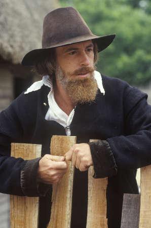 Living history reenactment of Pilgrims on Plymouth Plantation, Plymouth, Massachusetts