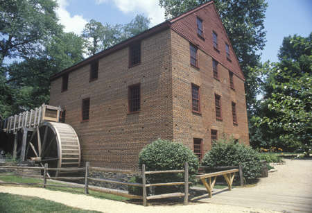 grist mill: Exterior of Colvin Run grist mill, Fairfax, Virginia
