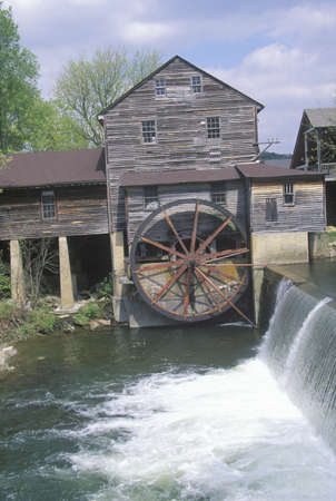 tn: Exterior of old mill in  Pidgeon Fork, TN Editorial