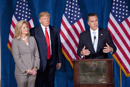 Governor Mitt Romney speaking at the Trump International Hotel & Tower in Las Vegas, Nevada Редакционное