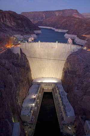 Hoover Dam in the Black Canyon of the Colorado River, bordering Arizona and Nevada Stock Photo