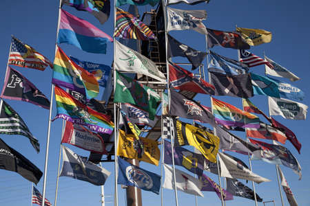 the novelty: Colorful novelty flags flying in Las Vegas, Nevada