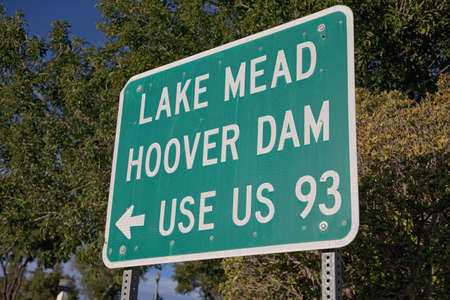 Signage showing Lake Mead, Hoover Dam, Use US 93
