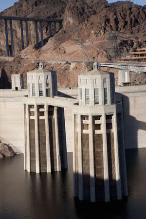 Hoover Dam in the Black Canyon of the Colorado River, bordering Arizona and Nevada photo